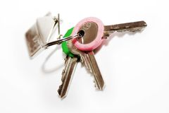 Keys. To new flat. closeup shot isolated on white Royalty Free Stock Photography