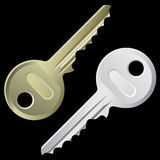 Keys. A set of keys isolated on a black background royalty free illustration