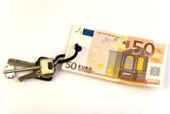 Keys with 50 Euro banknote tag Stock Photo
