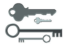 Keys. Small and tall Keys on white background stock illustration