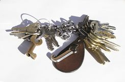 Keys. Close up of a keyring and a bunch of keys on a white background Stock Images