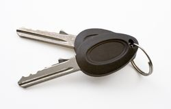 Keys. A pair of keys on a ring on white background with clipping path Stock Photography