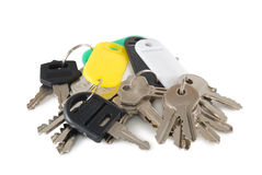 Keys. Eighteen keys are photographed on a white background Royalty Free Stock Photography