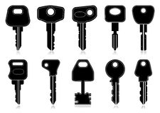Keys. 10 Detailed Vector keys set Stock Images