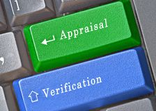 Keys for appraisal and verification. Keyboard with keys for appraisal and verification Stock Images