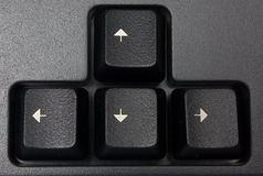 Keys with arrows. Computer keys of black color with white arrows Stock Images