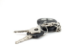 Keys from automobile. Bunch of keys from automobile on the white background Stock Photos