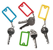 Keys with blank labels. Isolated on white background Stock Photos