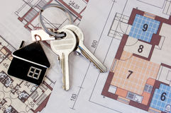 Keys on blueprint Royalty Free Stock Image