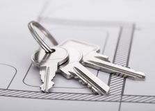 Keys on blueprint Stock Photos