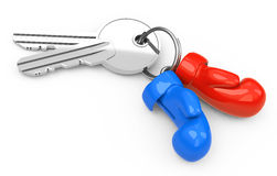 Keys with boxing gloves Royalty Free Stock Images