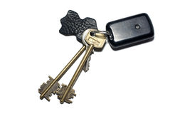 Keys with breloque. Isolated on white background Royalty Free Stock Photography