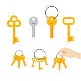Keys bunch vector, key hanging on ring, hand holding keychain Royalty Free Stock Photography