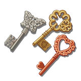Keys with butterfly, circle and heart ornament. Three vintage key with butterfly, circle and heart ornament Stock Image