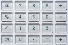 Keys of a calculator on math and statistics stock image