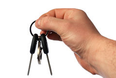 Keys from the car. The isolated sheaf of  in a hand Royalty Free Stock Photos