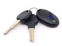 Keys for car. With remote control on white background Royalty Free Stock Image