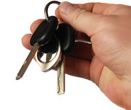 Keys from the car. The isolated sheaf of  in a hand Royalty Free Stock Images