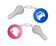 Keys for car and home vector. Vector illustrations of two keys, with gender colored keyring for male and female, one for a home or real estate and one for a car royalty free illustration