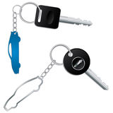 Keys with car shaped keyholders Stock Photo