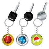 Keys with christmas theme keyholders Stock Image