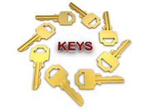 Keys circular pattern. 3D rendered illustration of eight golden keys arranged in a circular pattern around the word KEYS. The composition is isolated on a white Stock Photo