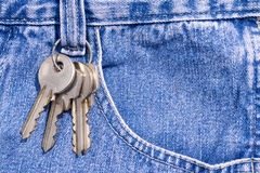 Keys clipped onto blue jeans Stock Photo