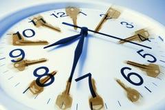 Keys and Clock Royalty Free Stock Photos
