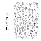 Keys collection, sketch for your design. Vector illustration Stock Photos