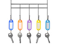 Keys with color trinkets. In trinkets a white empty label for records Royalty Free Stock Photo