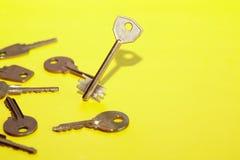 Keys Concept On Yellow Stock Photos
