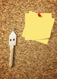 Keys on cork board Royalty Free Stock Photo