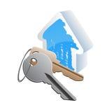 Keys_cottage. Keys with blue house model Royalty Free Stock Images