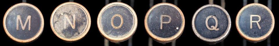 keys den gammala r skrivmaskinen för M Royaltyfri Fotografi
