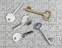 Keys of different types of puzzles. Stock Images