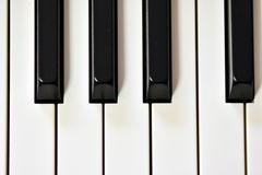 Keys of a digital piano, soft focusing, creative mood of a person improvisation and creativity. Midi piano keyboard for playing digital music and making royalty free stock images