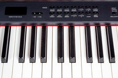 Keys of digital piano synthesizer. Key electric music synthesizer with a set of buttons of black color Stock Photo