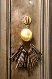 Keys on a door. A collection of vintage keys hanging on an old door Stock Image