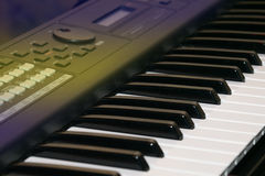 Keys of an electric piano in perspective Royalty Free Stock Photo