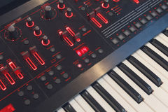 Keys electronic synthesizer closeup Stock Image