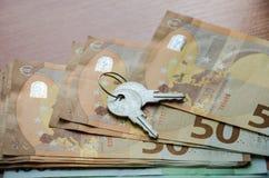 Keys on euro close-up royalty free stock photos