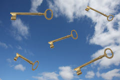 Keys Falling From The Blue Sky Stock Image