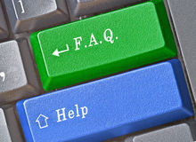 Keys for FAQ and help. Hot keys for FAQ and help Royalty Free Stock Photography