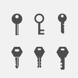 Keys flat icons set. Keys flat icons se isolated on white background Stock Photos