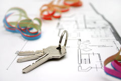 Keys on a floor-plan. Bunch of keys on a floor-plan or architecture-plan or house-plan Stock Photography