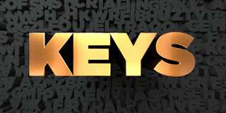 Keys - Gold text on black background - 3D rendered royalty free stock picture Stock Photo