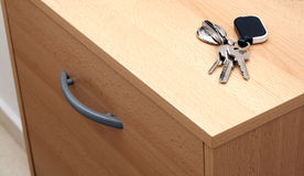 Keys on the hallway cabinet Royalty Free Stock Image