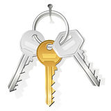 Keys hanging on nail. Bunch of three keys hanging on a nail stock illustration