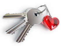Keys, heart, key ring Royalty Free Stock Photography