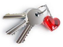 Keys, heart, key ring Royalty Free Stock Photography